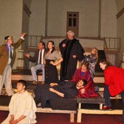 The trial of Judas Iscariot is being held in Purgatory by (left to right) Dylan Brennan, Artem Down, Dennis Hamrick. Macey Jennings, Lee Witting, Stephan Metropoulos, Kristin Witting, Camille and Kelly Nelson- Santiago.