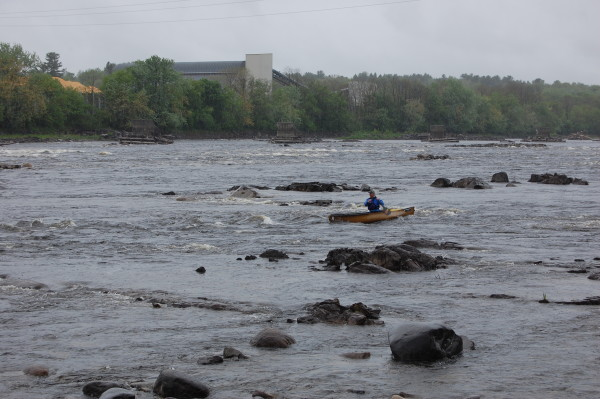 Boaters test the waters during a trial run of the Penobscot River regatta in May.