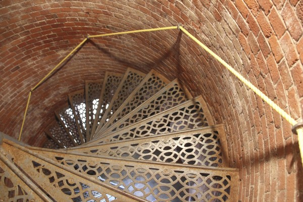 The steps leading to the top of the lighthouse are narrow and circular. Visitors can now climb the tower from 1:30 to 3:30 p.m. on Saturdays.