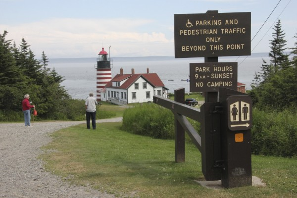 Visitors make their way down to the West Quoddy Head Light Station.