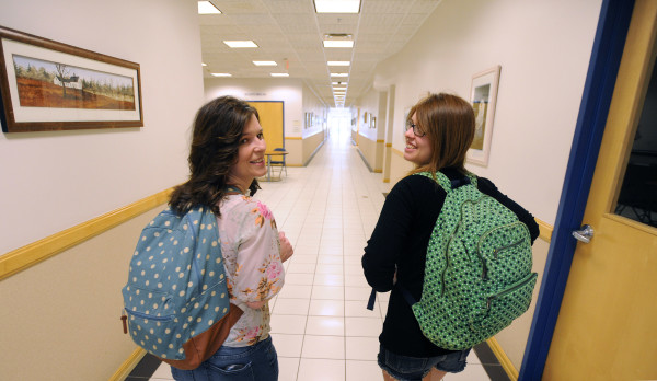 Michele Chadwick (left) and her daughter Maleah Chadwick, both of Searsmont, are enrolled in the Maine College Transitions Program offered through Belfast Adult Education.