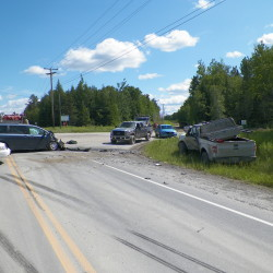 Man hospitalized after logging trucks collide in North woods