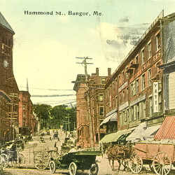Horses and autos shared the streets of downtown Bangor in the early 20th century.
