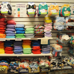 Various types of cloth diapers fill the shelves at Central Street Farmhouse in Bangor in this April 10, 2014, file photo.