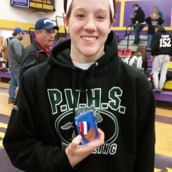 Penobscot Valley High School wrestler Sophia Carson