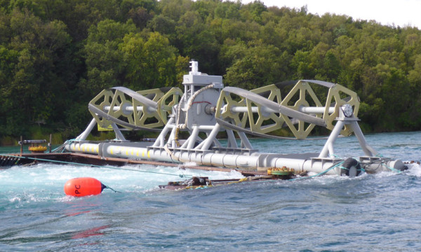 cean Renewable Power Co. has started generating power with a turbine it designed to test in the remote Kvichak River in Alaska, pictured above before being submerged.