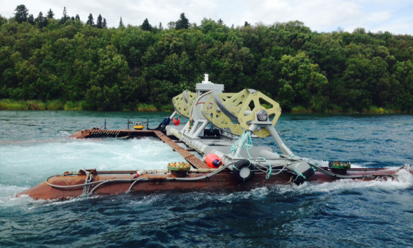 Ocean Renewable Power Co. has started generating power with a turbine it designed to test in the remote Kvichak River in Alaska, pictured above before being submerged.