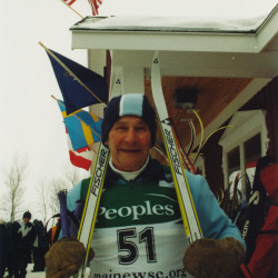 Ralph Ostlund at 80, after completing a race in 2004 at the Nordic Heritage Center in Presque Isle.
