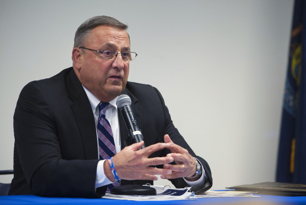 Gov. Paul LePage talks about his budget during a Town Hall meeting at the University of Maine Hutchinson Center in Belfast on April 28.