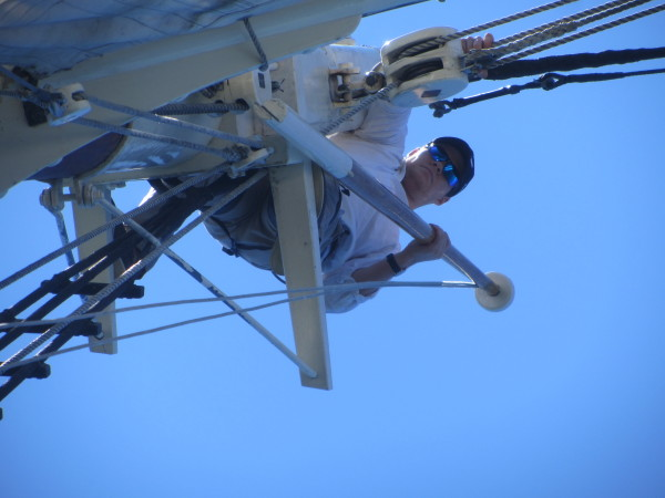 A crewmember of the schooner Stephen Taber climbs to the top of a mast to perform a final task before the start of the 2015 Great Schooner Race on Friday in Islesboro.