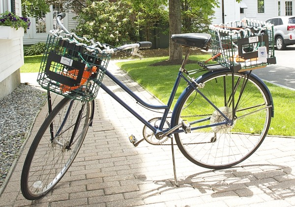 A Kettle Cove Enterprises' Bicycle Trap Basket is seen on Thursday in Cape Elizabeth. The baskets combine form and function with a little bit of Maine tradition for cyclists to carry items around town.