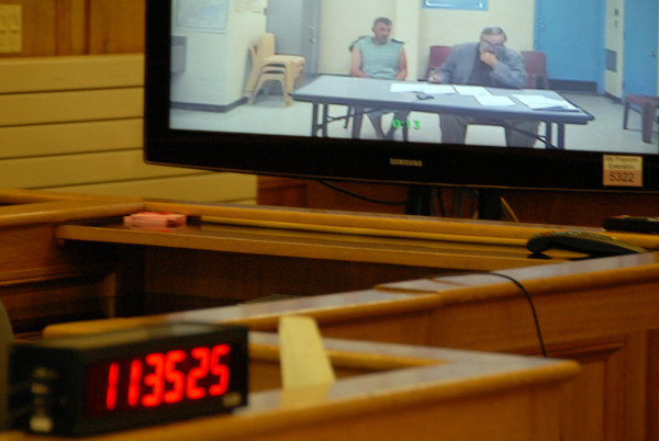 Anthony Lord appeared via closed-circuit television in Houlton District Court on Monday to answer charges in connection with a shooting spree last Friday.