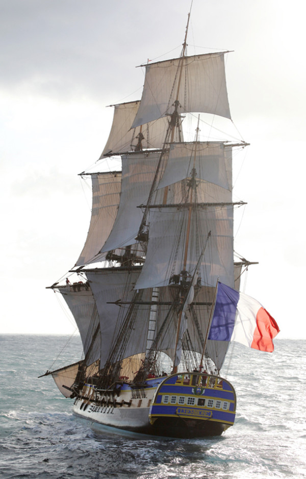 The French replica tall ship Hermione, which is commemorating the Marquis de LaFayette's 1780 trans-Atlantic voyage to announce French support for the American Revolution, is scheduled to be in Castine on July 14 and 15.