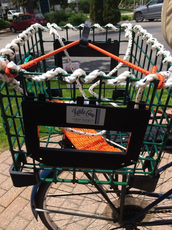A Bicycle Trap Trap Basket from Kettle Cove Enterprises is seen on Thursday in Cape Elizabeth. The baskets are available in front- or rear-mounted versions and can be fixed or removable.
