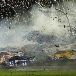 At least 28 fans, 1 driver hurt in 10-car crash at Daytona Speedway