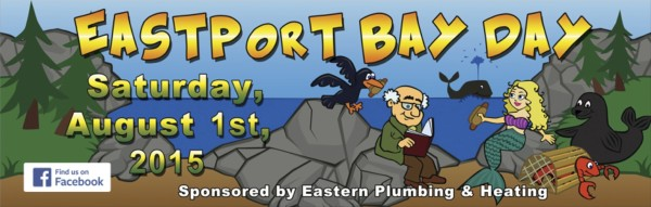 This banner, done by Kristina Paquette, advertises Bay Day, which will celebrate the installation of the mermaid statue.