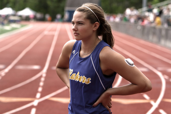 Lake Region's Kate Hall set a state record in the 100 meters with a time of  11.69 seconds at the Class B state track and field championships at McMann Field in Bath on May 5, 2015.