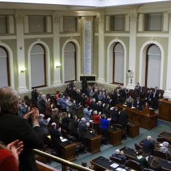 Gov. Paul LePage addresses the chamber during the 2015 State of the State address at the State House in Augusta.