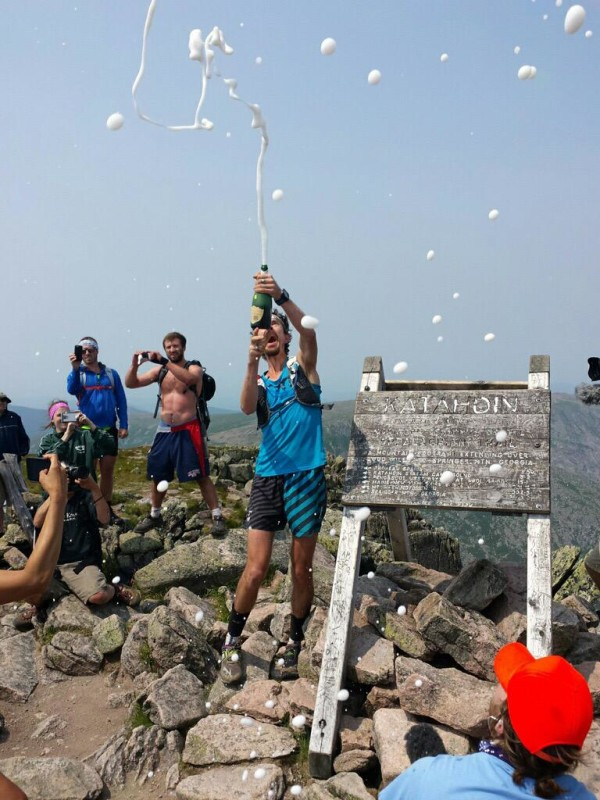 Scott Jurek celebrated on the top of Mount Katahdin after setting a new record for the fastest hike of the entire Appalachian Trail.