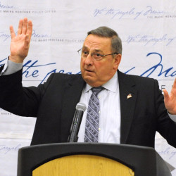 Gov. Paul LePage speaks at the Maine Heritage Policy Center luncheon on March 4 at the Cross Insurance Center in Bangor.