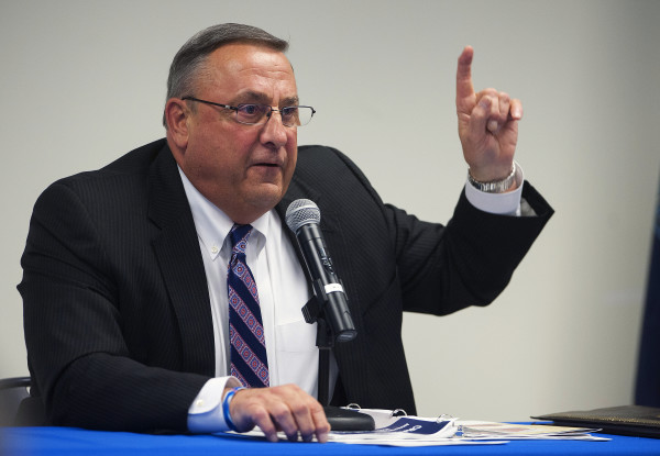 Gov. Paul LePage talks at the the University of Maine Hutchinson Center in Belfast April 28.