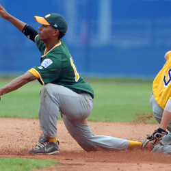Aruba shortstop Xander Bogaerts reaches for the ball while California's Matt Knight steals second base during a Senior League World Series game on Aug. 21, 2009, at Mansfield Stadium in Bangor. Bogaerts is now the starting shortstop for the Boston Red Sox.