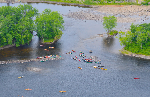 Competitors gather at the start of the Penobscot River Whitewater Nationals Regatta races in Old Town Friday morning.