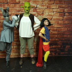 Jaimie Fogg as Donkey, Hannah Nilsson is understudy for Mikayla Holmes as Shrek, and David Robichaud as Lord Farquaad.