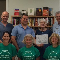 All smiles! The capital campaign committee for the Orono Village Green is working diligently to raise the remaining $36,818 to complete the campaign by August 31st.  Orono Public Library Foundation capital campaign committee: front Sarah Kenney, Deta Pearce, Valerie Levy; back Jim Bulteel, Brian Rahill, Barbara Wicks and W. Murray Bain.