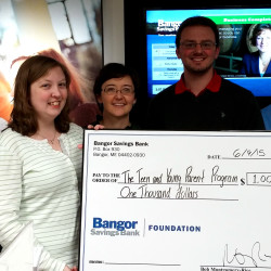 From left to right: Mark Foster, Assistant Vice President of Bangor Savings Bank in Rockland; Adrienne Randall, Community Education Assistant of the Teen and Young Parent Program; Sarah Craig, Mark Barley and Kevin Abendroth of Bangor Savings Bank in Rockland; and Sheilagh Guyer, President of the Teen and Young Parent Program governing board.