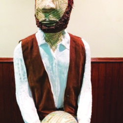 An encaustic statue of Henry David Thoreau created by artist Beth Henderson of Belfast.