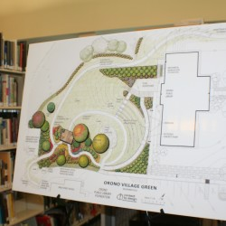 The Orono Village Green rendering on display in the Orono Public Library.
