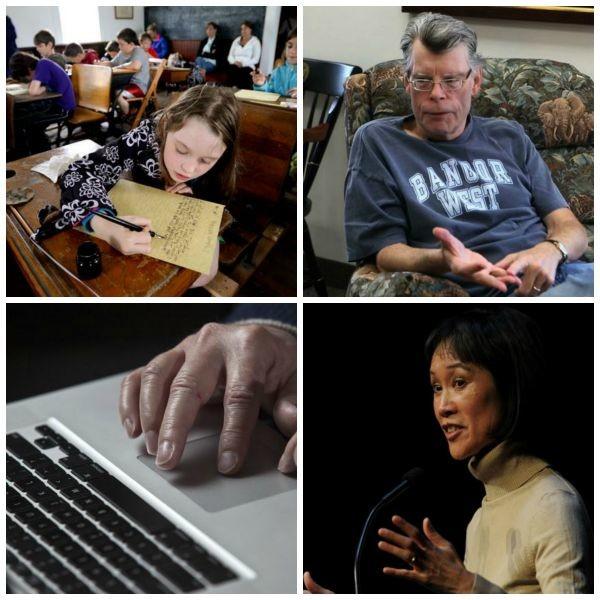 Clockwise from top-left, Orono third grader Rhowan Campbell, horror writer Stephen King, medical thriller writer Tess Gerritsen, and hands on a laptop.