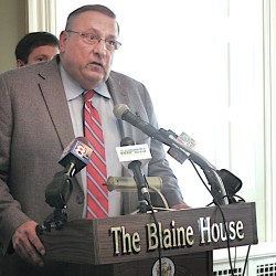 Gov. Paul LePage speaks at the Blaine House on May 29.