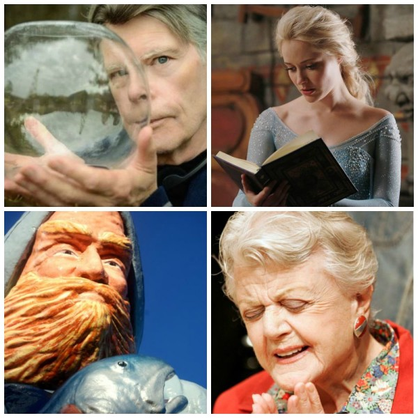 Clockwise from top left, author Stephen King holding a sphere representing his book/television show &quotUnder the Dome;&quot Ice Queen Elsa, played by Georgina Haig, visits Storybrooke in the show &quotOnce Upon A Time;&quot the fisherman statue from Eastport, where &quotMurder in Small Town X&quot was filmed; and actress Angela Lansbury, who starred in &quotMurder, She Wrote.&quot