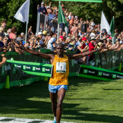 Stephen Kosgei Kibet of Kenya won the Beach to Beacon 10K with a time of 28:28.2 on Saturday.