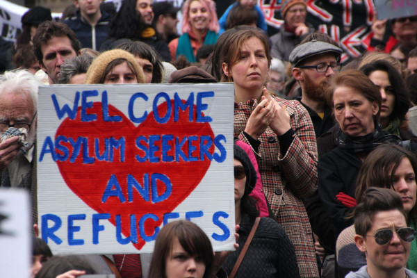 A rally for refugees' and asylum seekers' rights in Melbourne, Australia, in July 2013.