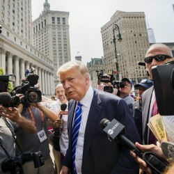 U.S. Republican presidential candidate Donald Trump returns after a break for jury duty at Manhattan Supreme Court in New York on Tuesday.