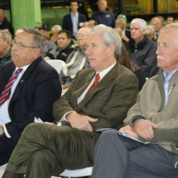 Dignitaries from both sides of the border were on hand for the grand opening of Irving Woodland's Ashland Sawmill, including (from left) Maine Gov. Paul LePage; Jim Irving, co-CEO of the company; and U.S. Sen. Angus King in October 2014.