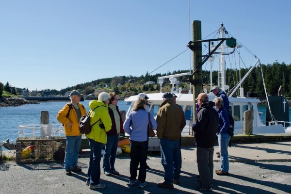 A class from Acadia Senior College in Bar Harbor prepares for a field trip to Frenchboro in 2012.