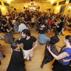 Contra dance at the Finn Hall in Monson