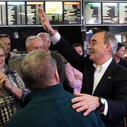 Bruce Poliquin greets supporters at Oakland House of Pizza after winning a race against Emily Cain to represent Maine's 2nd Congressional District.