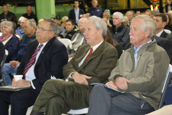 Dignitaries from both sides of the border were on hand for the grand opening Thursday of Irving Woodland's Ashland Sawmill, including (from left) Maine Gov. Paul LePage; Jim Irving, co-CEO of the company; and U.S. Sen. Angus King on Oct. 2, 2014.