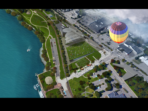 A rendering shows the future of the Bangor Waterfront as envisioned by FTL Design Engineering Studio, a New York-based firm.