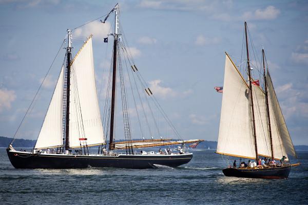 The Gloucester-based schooner Adventure (left) passes Portland's Bagheera Thursday morning in Portland Harbor.