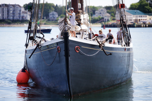 The Gloucester, Massachusetts, schooner Adventure pulls into a wharf in Portland Thursday. As part of the Maine Sail Freight project, the Adventure will sail for Boston Friday, loaded with Maine agricultural products.