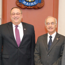 Gov. Paul LePage (second from left) stands with his commissioner nominees. They are (from left) Norman Olsen of Cherryfield, who is nominated to lead the Department of Marine Resources; Darryl Brown of Livermore Falls, nominated to head the Department of Environmental Protection; and Philip Congdon of Round Pond, nominated to lead the Department of Economic and Community Development.