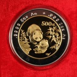 1996 China Panda bi-metal gold and silver 500 Yuan coin, one of over 1,100 fine coin and currency lots to be sold at Thomaston Place Auction Galleries on Sunday, September 13 at 10:00 a.m.
