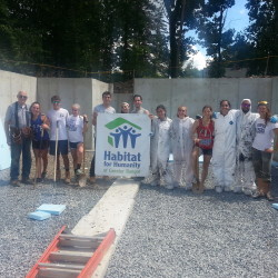 Lin Lufkin, far left, with volunteers from the New Hampshire Camp Walt Whitman at the site of Habitat for Humanity of Greater Bangor's current home building project in Bangor.  Volunteers, especially those with carpentry and other construction skills, are encouraged to sign up at www.habitatbangor.org to help built it.