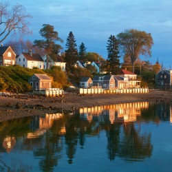 """""""Castine Waterfront,"""" part of Downeast Impressions, a special exhibition by Jean Warren"""